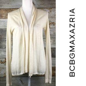 BCBGMaxAzria Linen Blend Ivory Open Cardigan Small